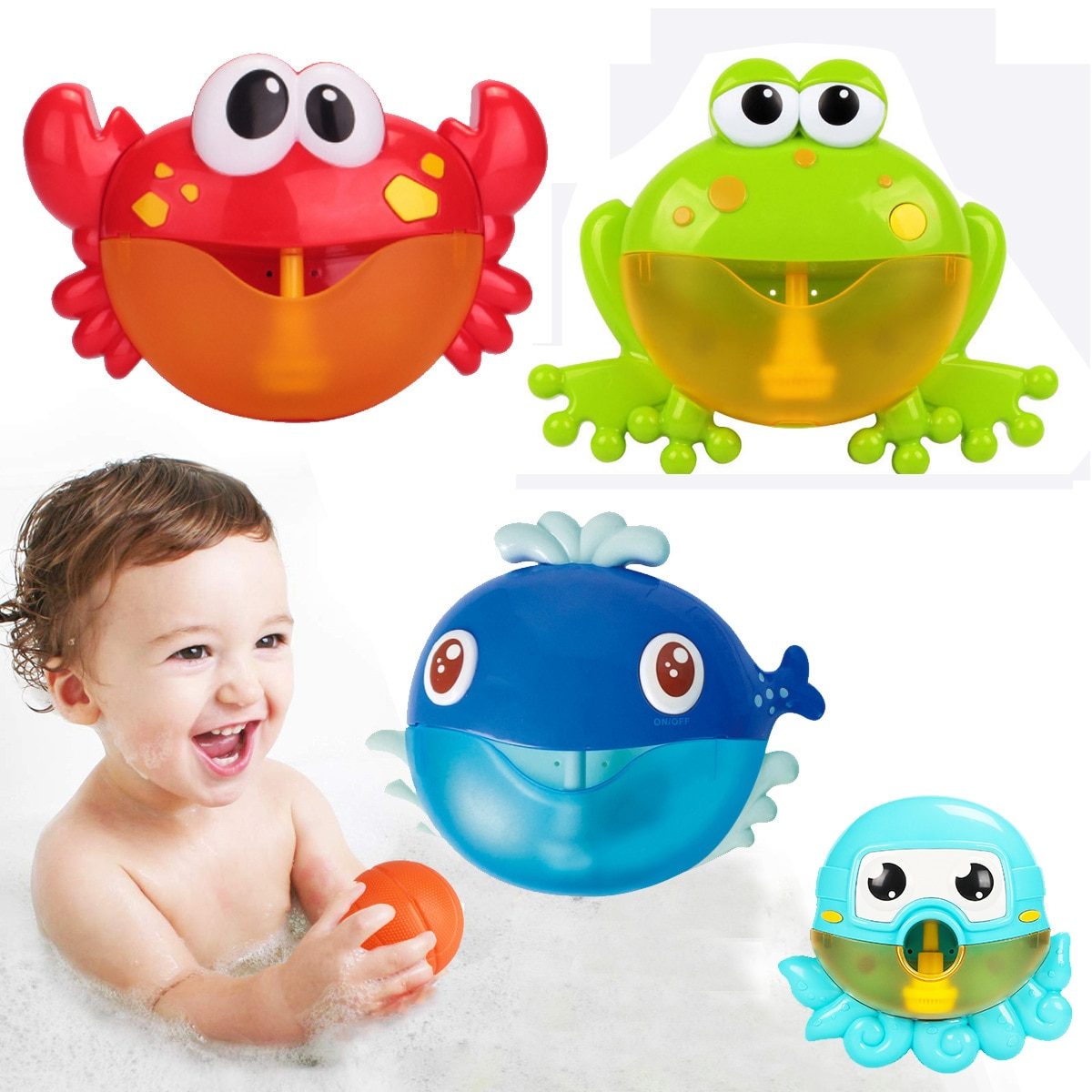 Dropshipping Bubble Machine Crabs Frog Music Kids Bath Toy Bathtub Soap Automatic Bubble Maker Baby