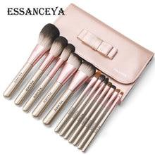 Ensemble de pinceaux de maquillage en bois ESSANCEYA 10/12 Pcs fond de teint poudre Blush fard à paupières correcteur maquillage pour les yeux Kit doutils cosmétiques