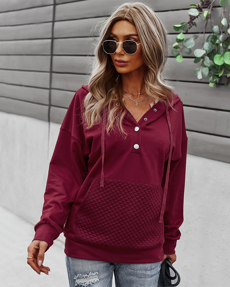 European And American Sexy Women's Autumn Winter 2021 New Sweater Solid Color Long-Sleeved Jacket + Hood + Pocket Ladies Sweater enlarge