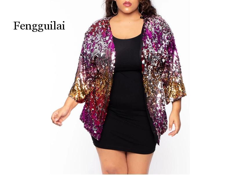 Пальто свободного кроя с блестками размера плюс, женский кардиган, Сексуальные клубные вечерние куртки, женские демисезонные пальто градие...