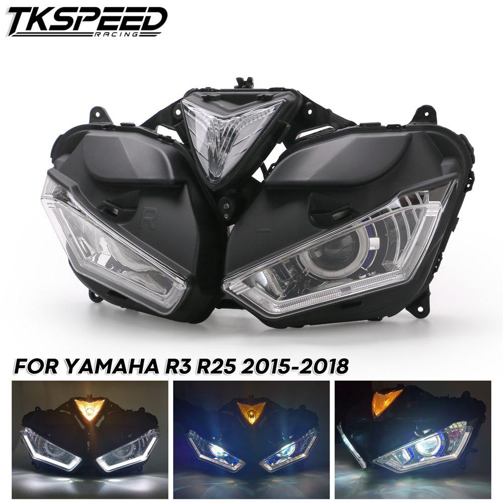 لياماها YZF R25 R3 دراجة نارية كامل LED HeadlightAngel شيطان العين HID العارض العلوي YZF-R25 R3 HID الملاك العين 2013-2017