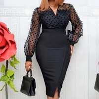 african women sheer long sleeves polka dot bodycon dress office ladies slim see through women vestido occassion event celebrate