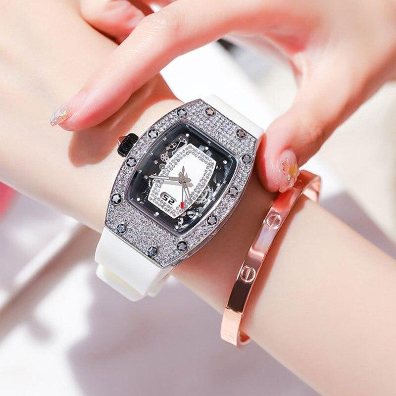 2021 Diamond Women's Watch Luxury Tonneau Gold Watches Top Ladies Big Dial Quartz Watch Waterproof Square Watch Miller Clock+Box