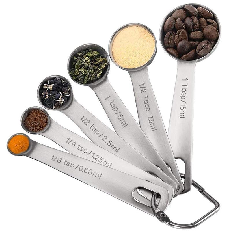 Colheres de medição varejo, colheres de medição de aço inoxidável conjunto de copos, colher de sopa pequena com medição métrica e eua, conjunto de 6 f