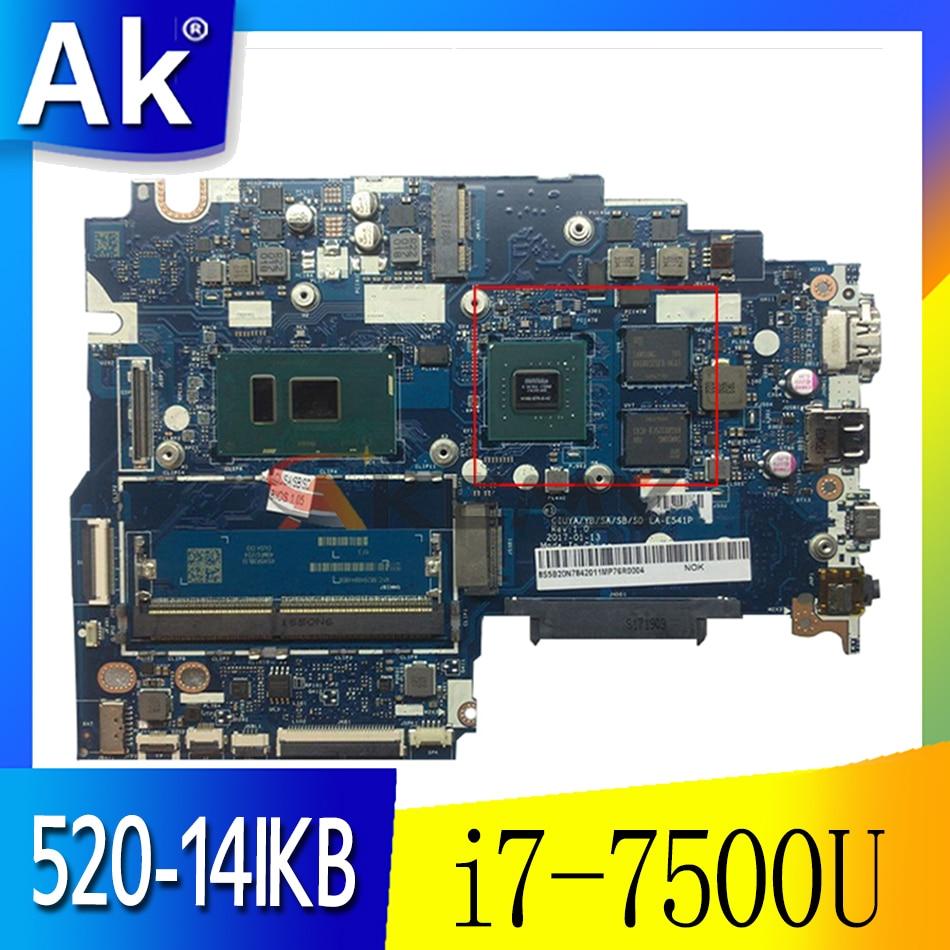Akemy لينوفو اليوغا 520-14IKB فليكس 5-1470 اللوحة الأم للكمبيوتر المحمول LA-E541P وحدة المعالجة المركزية i7-7500U وحدة معالجة الرسومات 940MX 2GB اختبار 100% العمل