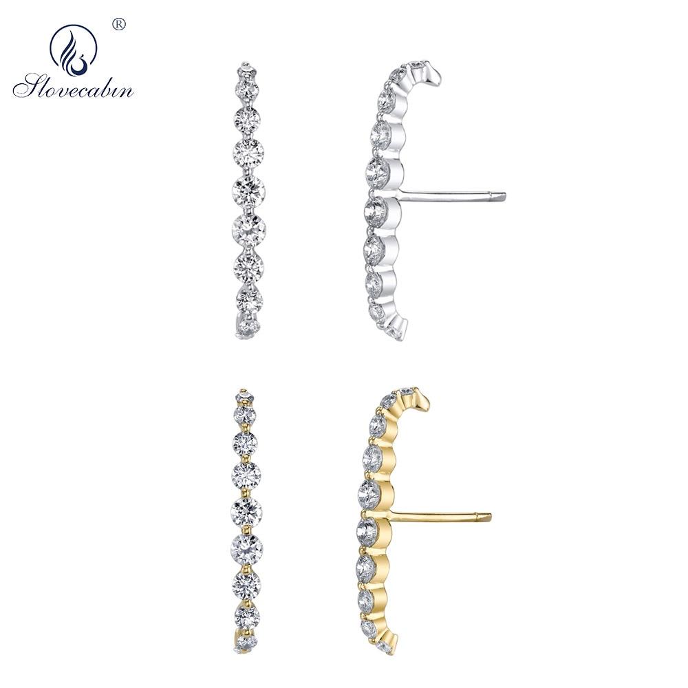 Slovecabin 925 Sterling Silver Large Crystal CZ Zircon FLOATING LOBE CUFF Stud Circle Earring Women Luxury jewelry Accessory tH