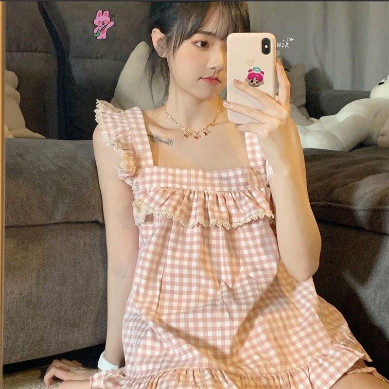 QWEEK Plaid Pijama Kawaii Pajamas for Women Summer 2021 Sleepwear Pink Pyjamas Cute Loungewear Homewear Sling Top and Shorts