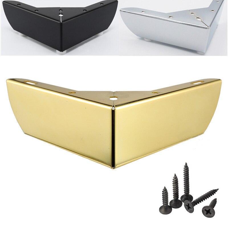 4 قطعة الذهب المعادن الأثاث الساق طاولة القهوة السوداء الساق أريكة القدم المسمار مع الطابق حامي منصات اكسسوارات أثاث الأجهزة