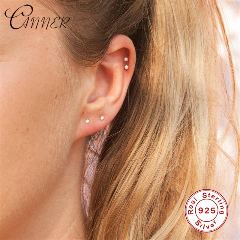 CANNER 925 Sterling Silver Clear CZ Stud Earrings for Women Small Mini Korean Earrings Tiny Zirconia Minimalist Earring Jewelry недорого