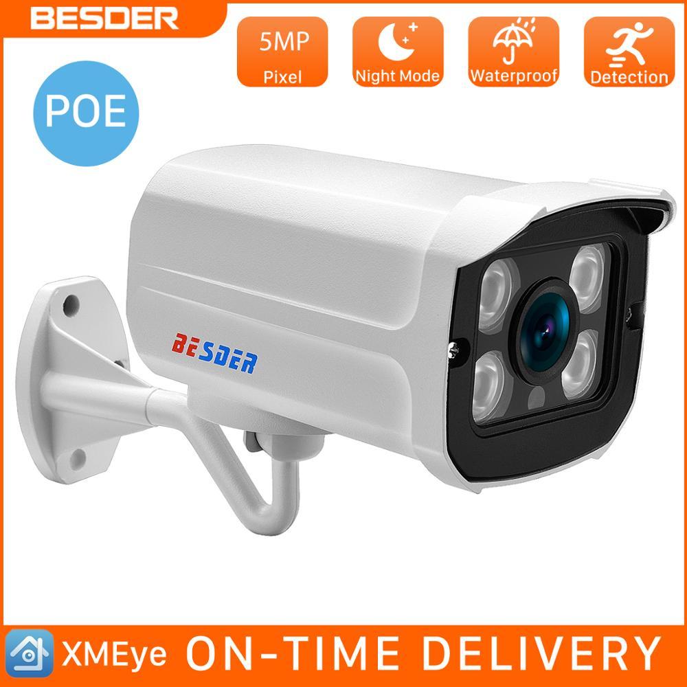 BESDER Full HD 5 Мп 3 Мп 2 МП наружная цилиндрическая камера видеонаблюдения POE IP Ночная камера 2,8 мм широкоугольный металлический чехол система вид...