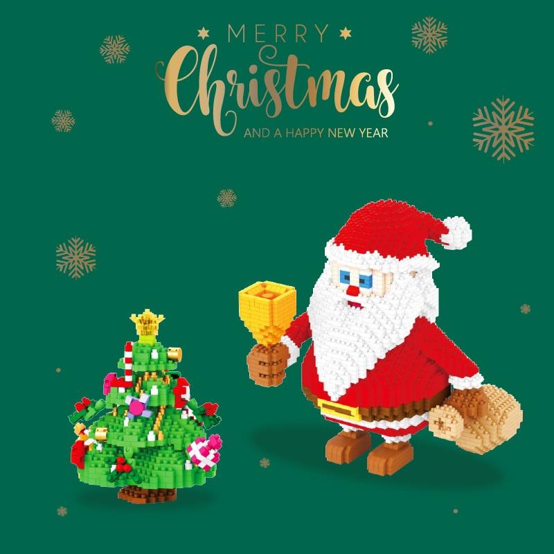 Модель рождественской елки Санта-Клаус, строительные блоки «сделай сам», олень, снеговик, сборные строительные блоки, детские рождественск...