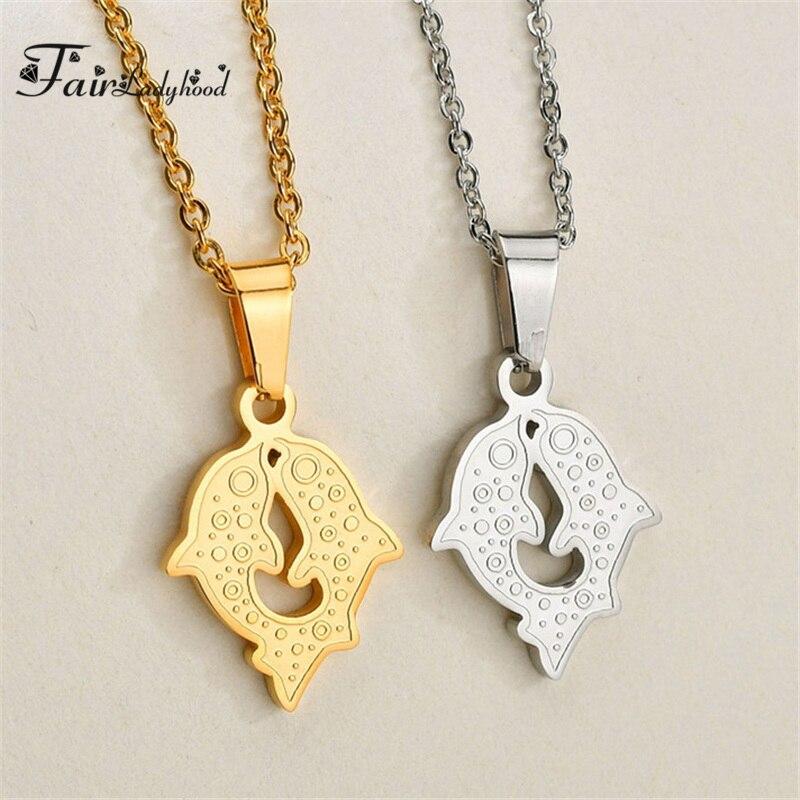 FairLadyHood lindo dos delfín colgante collar cadena oro plata collar gargantilla collar suéter cadena para mujer chica regalo
