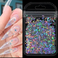 Голографические серебряные блестки для ногтей, лазерные блестки в форме звезды, блестящие хлопья, блестки, украшения для творчества и ногте...