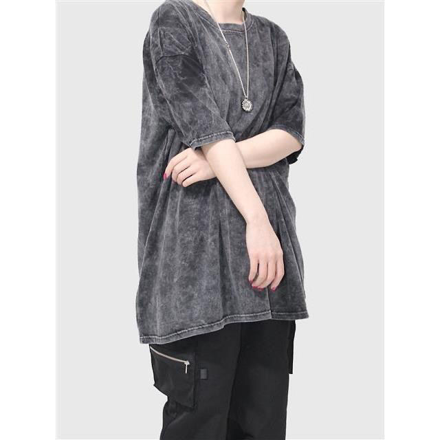 T-shirt150KG Oversize Clothing Fashion Washed Old Loose Gray Couple plus Size Short Sleeve T-shirt Casual Top Women 's Dressing  - buy with discount