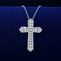2020 new arrival fashion silver color cross necklace jewelry women wedding shiny cz zircon crystal pendant necklace party gift