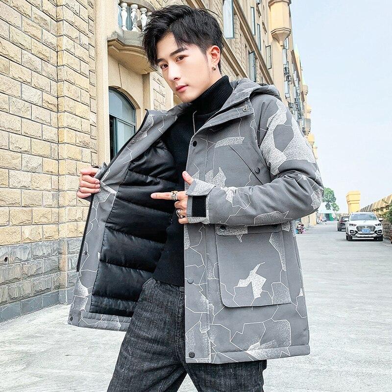 Мужская одежда, зимняя куртка, Модное новое пальто с капюшоном с принтом, Молодежная теплая уличная одежда большого размера, мужская куртка,...