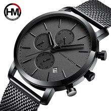 Hannah Martin hommes montres multifonction petit cadran en acier inoxydable maille bracelet calendrier daffaires étanche montres HM-109