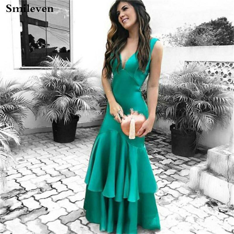 Smileven-فستان سهرة مثير من الساتان الناعم بتصميم حورية البحر ، وفستان حفلة ، وأوراق لوتس ، وفستان سهرة