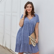 New 2021 Summer Dress Plus Size Women Beach Dresses Fashion Floral Chiffon Dress Short Sleeve V-Neck