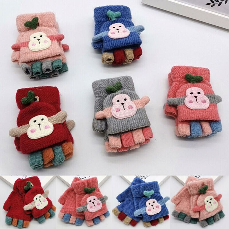 Autumn Winter Warm Baby Boy Girls Kids Thick Fur Knitted Cartoon Monkey Gloves Toddlers Fingerprint Mittens