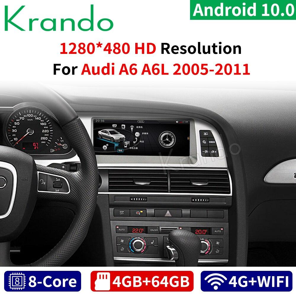 Krando Android 10,0 8-Core 4 + 64G radio de coche audio navegación GPS para Audi A6 A6L 2005, 2006-2011 reproductor multimedia con 4G WIFi TB