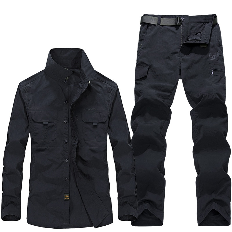 Spring and Summer New Mens Quick-drying Trousers Large Size Outdoor Waterproof Shirt Suit Overalls