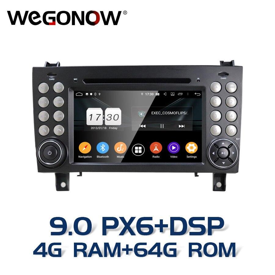 Px6 dsp android 9.0 4gb 64gb 8 núcleo carro dvd player 2din wifi bt rds rádio gps mapa para benz slk-classe r171 slk200/280/300/350/55