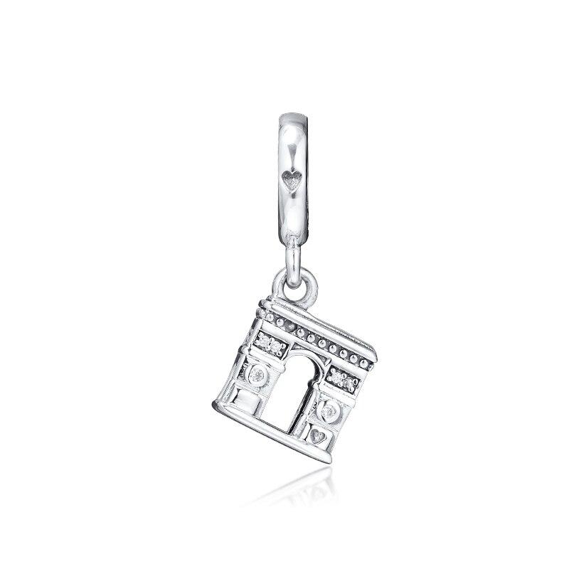 Grânulos para fazer jóias arco triunfal notre dame charme se encaixa prata esterlina encantos pulseira & pulseira moda feminina diy contas