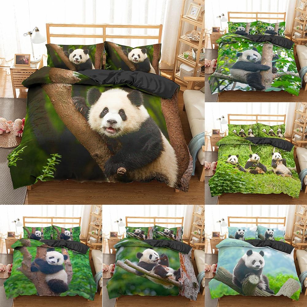 Homesky panda jogo de cama 3d impresso animal capa edredão gêmeo completa rainha rei duplo au tamanhos único roupa fronha 2/3pcs
