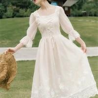 vintage retro dress women french style elegant designer fairy dress casual slim chiffon party dress 2020 autumn womens clothing