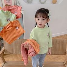 Children's Striped Bottoming Shirt 2021 Autumn New Girl Cartoon Little Rabbit Cute Pink Long Sleeve
