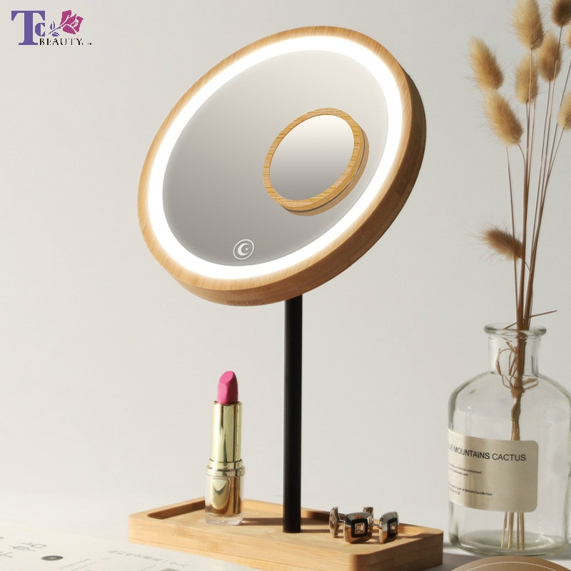 Wooden Desktop LED Makeup Mirror 3X Magnifying USB Charging Adjustable Bright Diffused Light Touch S