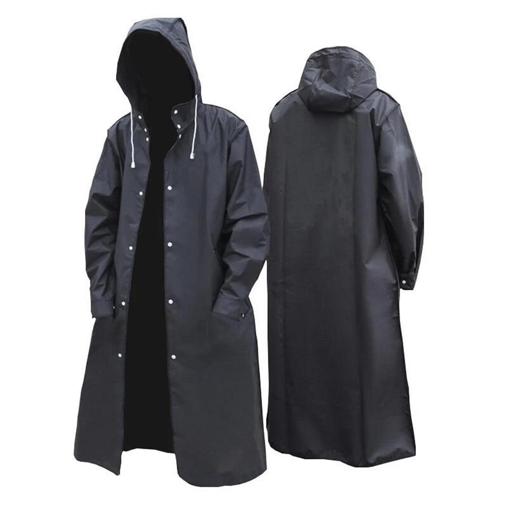 ¡Novedad de 2020! Chubasquero de moda negro para hombre y mujer, Poncho para exteriores, impermeable, EVA, abrigos largos con capucha para viaje, escalada, ciclismo