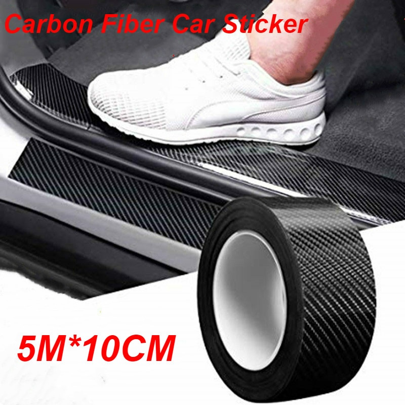 5M 3D Carbon Fiber Car Sticker DIY Paste Protector Strip Auto Door Sill Side Mirror Anti Scratch Tape Waterproof Protection Film