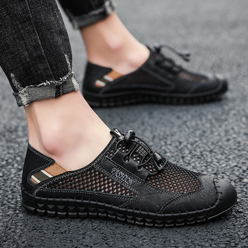 Big Size 38-48 Men Summer Casual Shoes 2021 Fashion Breathable Flats Shoes Comfortable Slip On Loafe