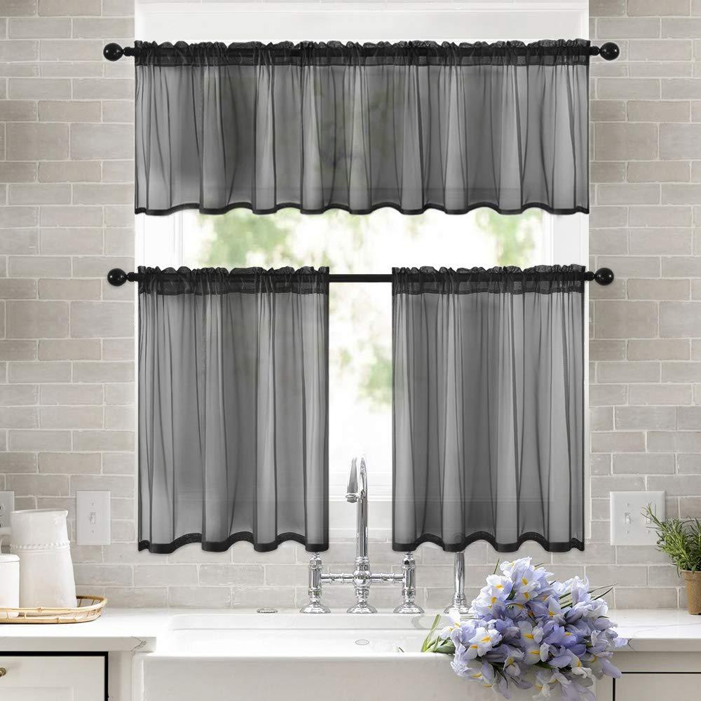 Negro corta transparente cortinas para dormitorio de lujo europeo de sala de estar de la puerta de la ventana cortinas para ventanas cortina para cocina