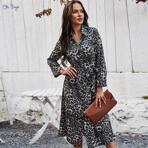 Fashion Autumn And Winter Dark Grey Lady Skirt Leopard Print Sexy Long Sleeve Belt Temperament Women Dress