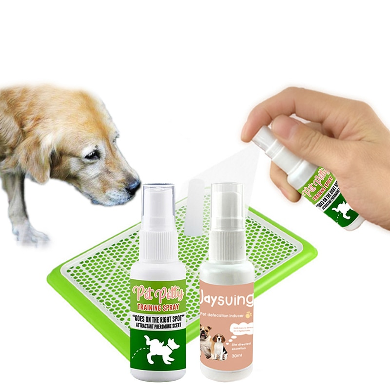30ml mascota perro Spray inductor perro inodoro entrenamiento cachorro posicionamiento defecación mascota orinal Spray de entrenamiento