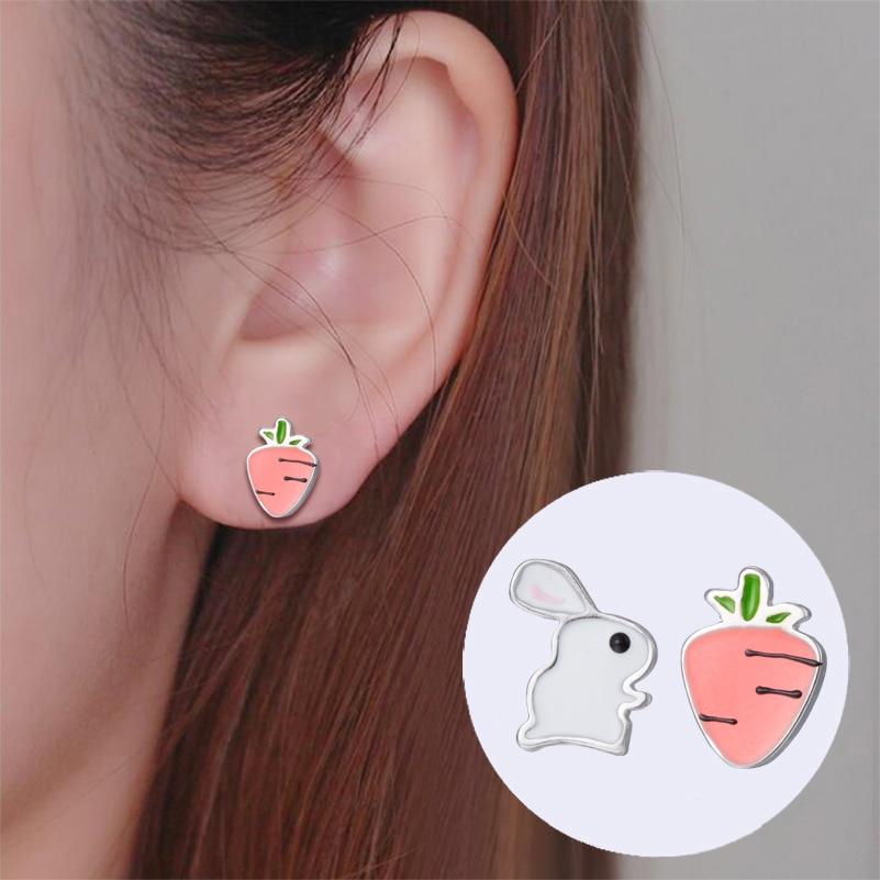 Hfarich Kolczyki Oorbellen Cute Cartoon Bunny Earrings Fashion Minimalism Earing Carrot Women Femme Kids Jewellery