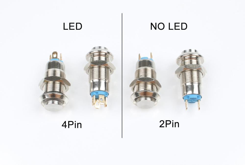 1 Uds. Interruptor de botón de Metal autoajustable momentáneo de 8mm con bloqueo automático 2 pines sin LED/4 pines LED interruptor de cabeza alta