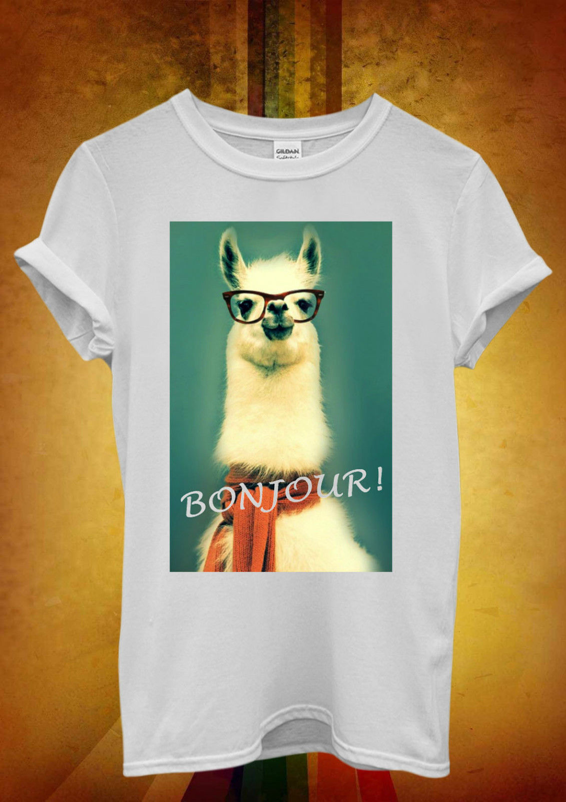 Llama Lama Bonjour Cool Hipster divertido hombres mujeres Unisex camiseta Top chaleco 403 100% de algodón de manga corta o-cuello Tops camisetas
