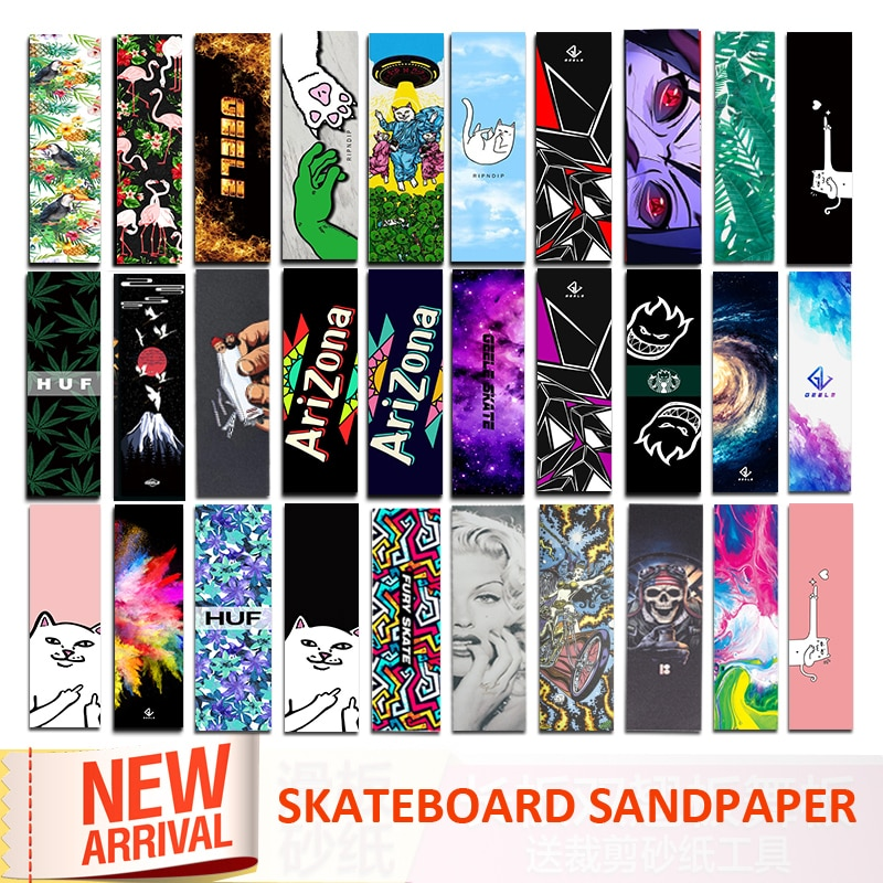 Digital Spray Emery Double Rocker Skateboard Sandpaper Skate Board Deck Sticker Sandpaper Scooter Griptape Longboard Abrasive