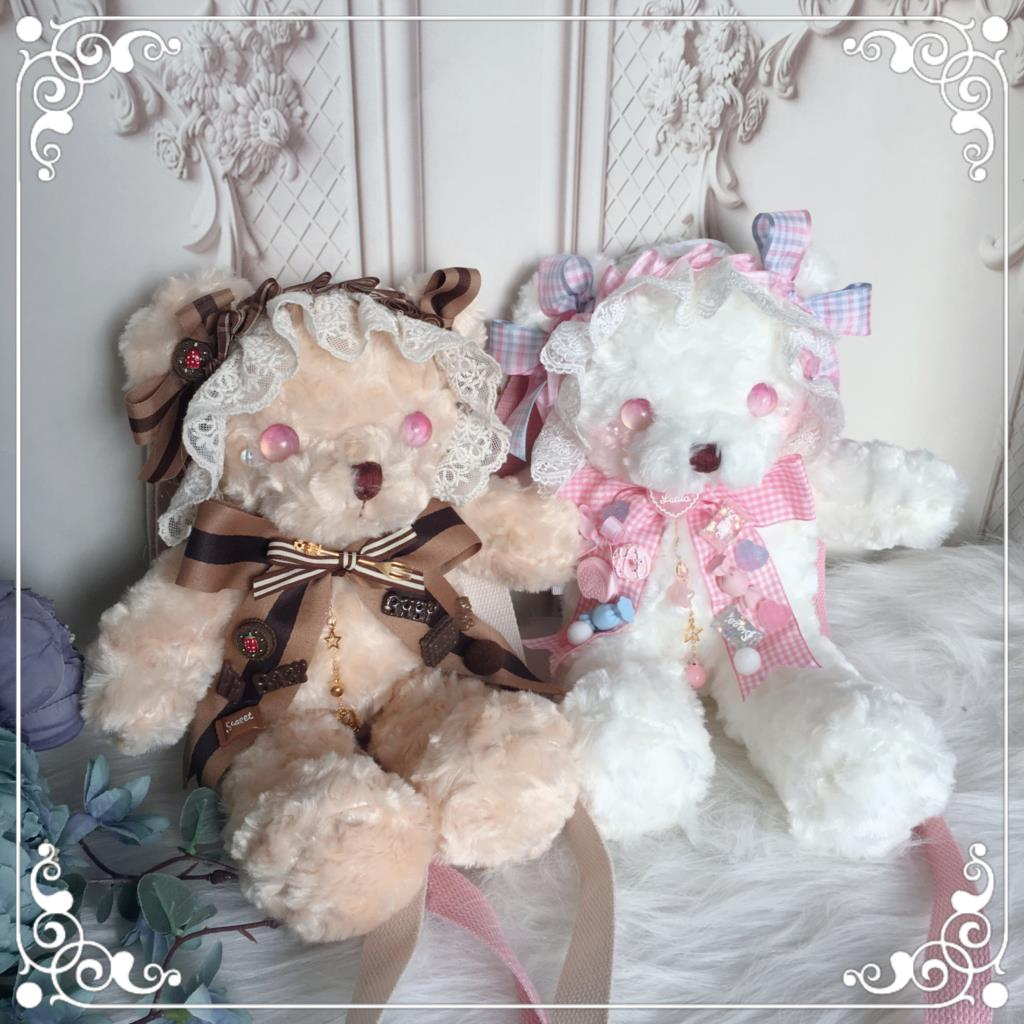 الأصلي اليدوية لوليتا عنصر دمية تعديل التلميذ الدب حقيبة لطيف الحليب الدب لوليتا نمط ظهره