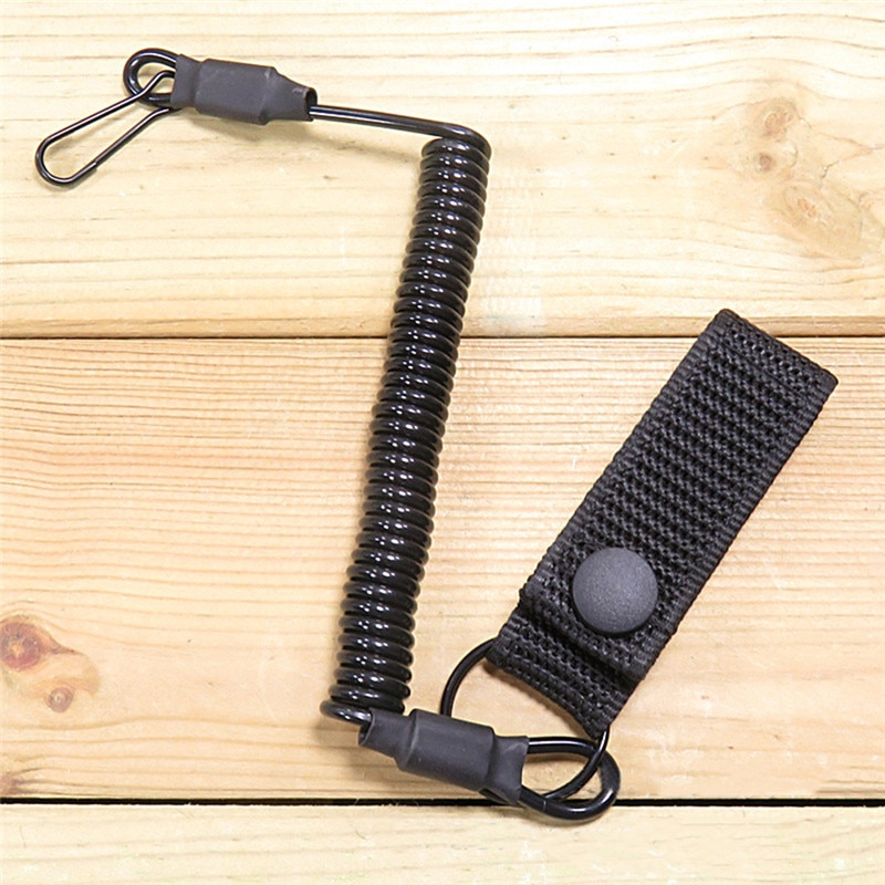 Tactical Anti-lost Elastic Lanyard Rope Military Spring Safety Strap Gun Rope For Key Ring Chain Flashlight Hunting Accessories