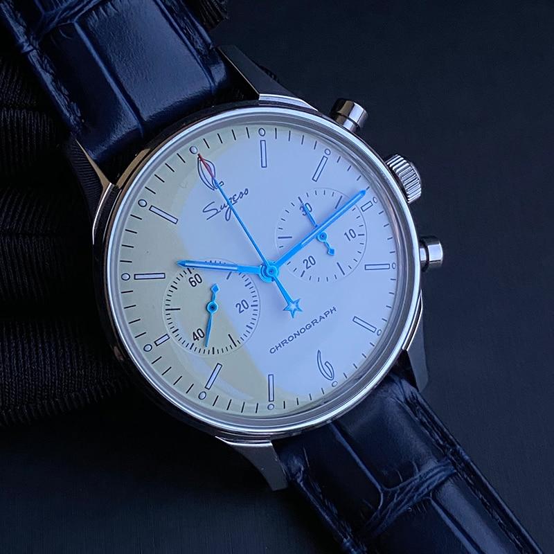 Sugess-ساعة يد رجالية أصلية ، سوار عسكري رسمي ، حركة ميكانيكية ، seagull ST1901 ، ساعة كلاسيكية مع كرونوغراف ، طيار