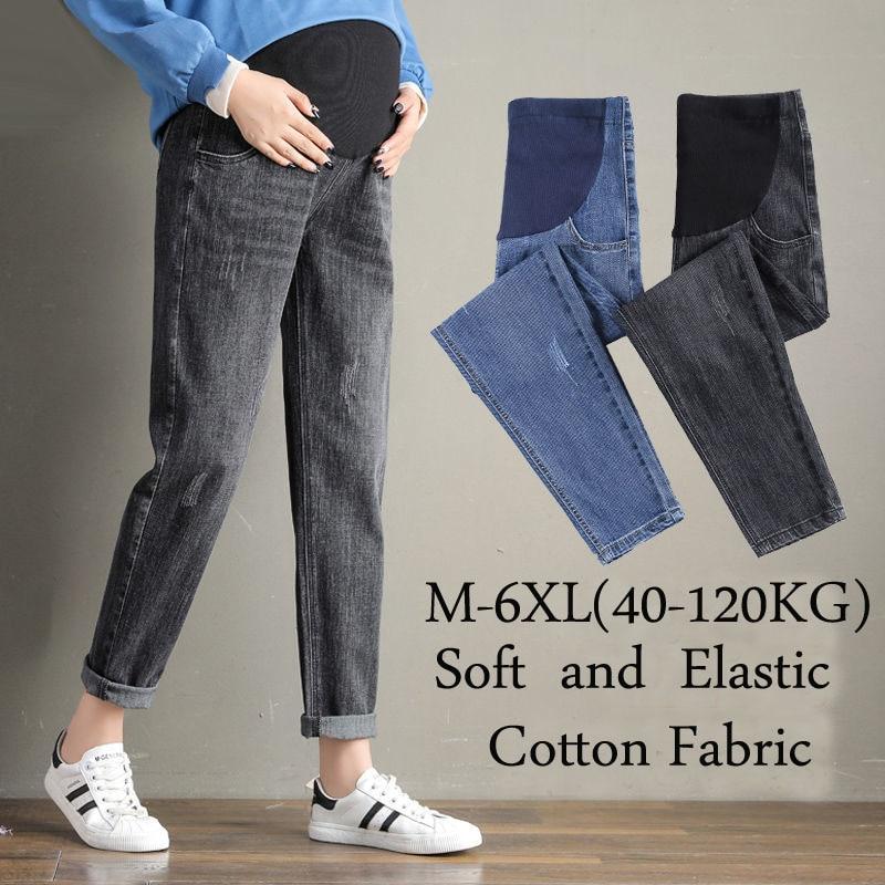 220KG Big Fat Denim Jeans Women's Winter Maternity Pants For Pregnant Women Nursing Pregnancy Wide Leggings Trousers M-6XL