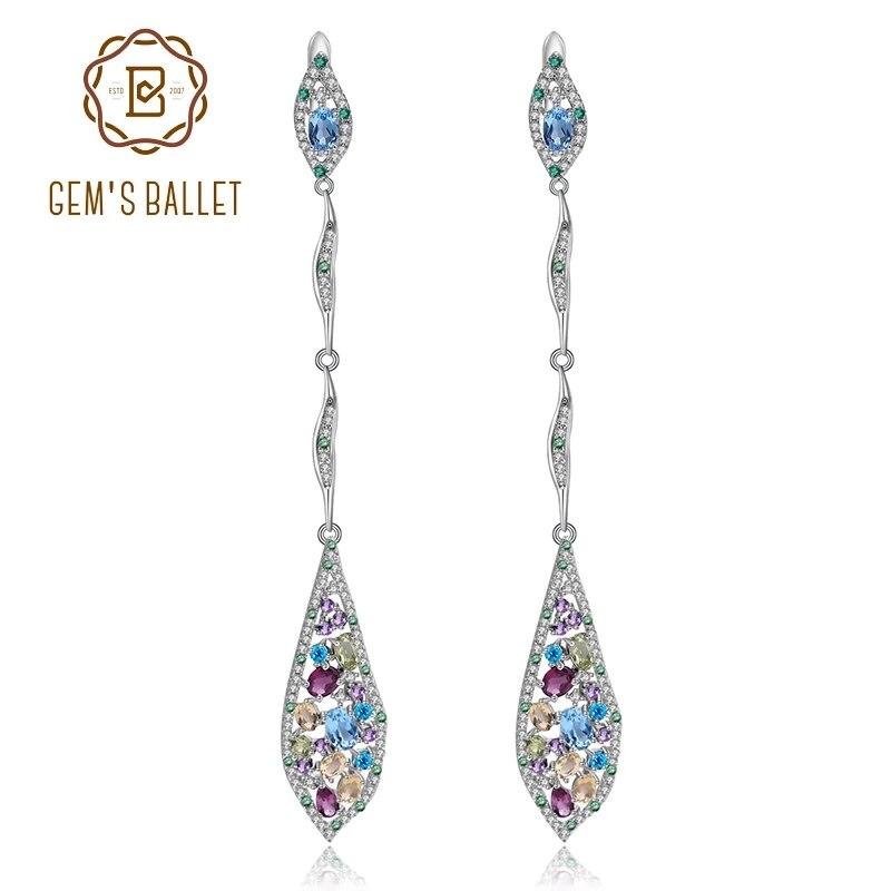 GEM'S الباليه-أقراط من الفضة الإسترليني عيار 925 والجمشت والزبرجد متعدد الألوان للنساء