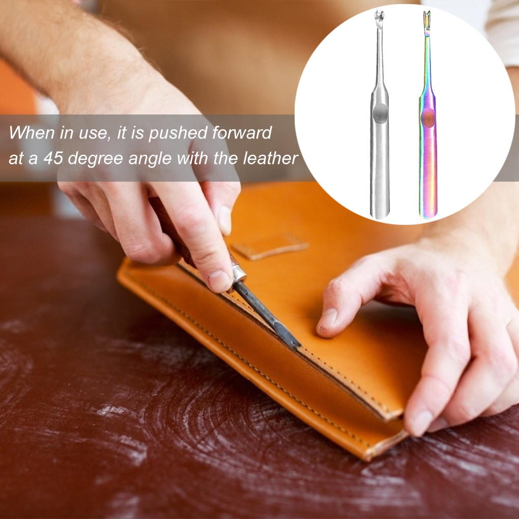 U+V Shaped Leather Stitching Skiving Tool  Punching Tool Kit  Hole Puncher Edge Beveler Tool Kit 1 set steel leather edge beveler skiving beveling wooden handle craft diy cutting tool kit for diy leather manual cutting edge