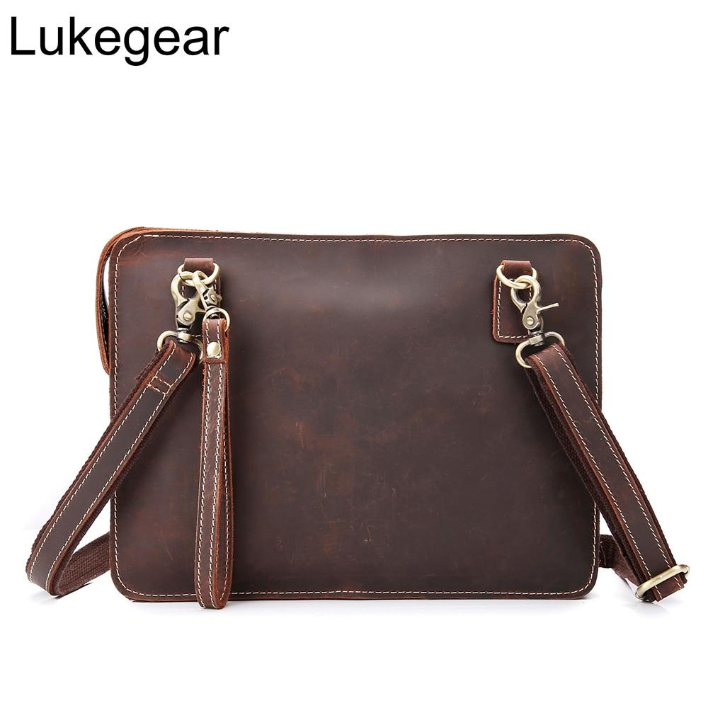 Lukegear bolsos de cuero genuino para hombres Retro maletín hecho a mano portátil bolsos de oficina para mujeres