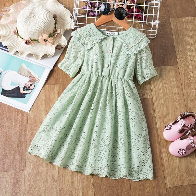 Vestido de verano 2020 verde aguacate para niñas princesa ropa de fiesta de cumpleaños ahuecado transpirable niños cuello redondo vestidos de graduación